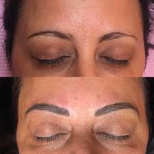 woman before and after eyebrow microblading