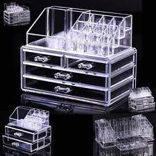 NEW Cosmetic organizer makeup drawers Display Box Acrylic Clear Cabinet  Case Set