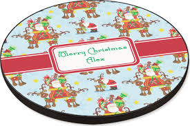 santa on sleigh round table personalized