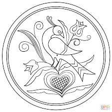 Small Picture Hex Sign with Decorative Bird coloring page Free Printable
