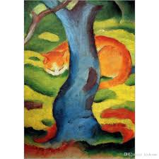 2018 abstract horse paintings franz marc cat under a tree hand painted canvas art high quality from kixhome 102 52 dhgate com