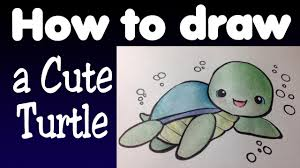 Small Picture How to draw a cute turtle YouTube