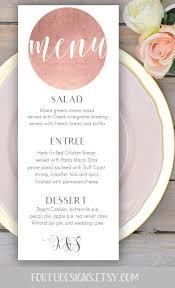 Rose Gold Wedding Menu Card Printable Personalized Wedding Menu