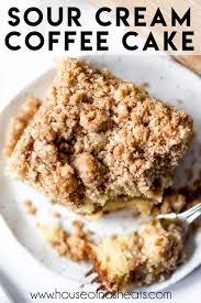 This coffee cake is light, airy, and topped with a crunchy streusel before being decorated with a simple, sweet glaze. Cinnamon Streusel Sour Cream Coffee Cake House Of Nash Eats