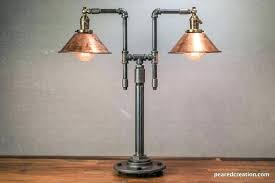vintage table lamp industrial style iron piping copper shade steampunk furniture creation light fixture parts fixtures