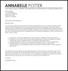 Quality Auditor Cover Letter Sample Livecareer Audit Cover Letter