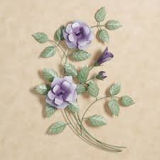 best and newest purple flower metal wall art with les fleurs purple rose spray metal wall