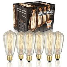 edison bulb ceiling fan. Original Edison Vintage Bulbs - 6 Pack Blaze 60W Incandescent Industrial Bulb 250 Lumens Clear Glass Long Life Handmade ST64 Squirrel Cage Ceiling Fan T
