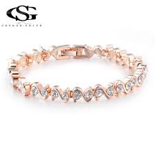 gs rose gold color chain link bracelet bangles for women whole rels costume jewelry with aaa cz crystal gift