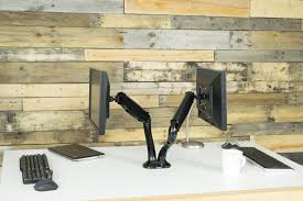 dual lcd monitor desk mount stand black deluxe gas spring 2 screens up to 27 stand v002d com