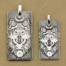 high details deep laser engraved 999 sterling silver indian wolf dogtag mens biker rock punk pendant 9x031sa jp