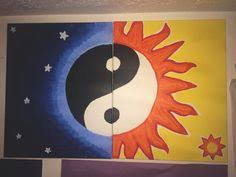 sun and moon yin yang wall art