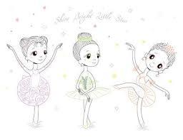 美しいドレスとクラウンの小さなバレリーナのかわいい女の子の手書き