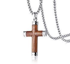 pj jewelry mens stainless steel hawaiian koa wood cross pendant necklace for his gift com