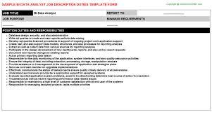 Data Analyst Job Duties Bi Data Analyst Job Description Duties