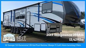 2019 vengeance 388a16 43 5th wheel toy hauler sleeps 9 16 garage 5 5 generator best cer s
