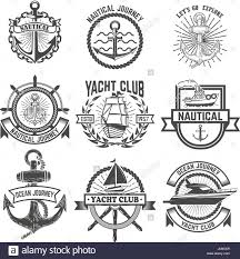 Yacht T Shirt Designs Set Of Yacht Club Labels Nautical Design Elements For Logo
