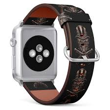 com steampunk skull in hat and s patterned leather wristband strap for apple watch series 4 3 2 1 gen replacement for iwatch 42mm 44mm