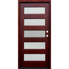 pacific entries 36 in x 80 in contemporary 5 lite reed stained mahogany wood