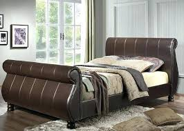 sleigh bed king size sleigh bed king size brown faux leather sleigh bed super intended for