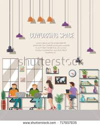 the creative office. Vector Illustration Of Coworking Space. Working Place, Office. People In The Creative Office O