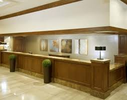 desk:Wooden Varnished Front Desk Design Brown Color Lacquired Good Looking  Professional Classical Different Shapes