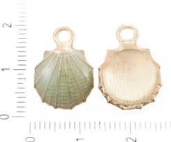 4pcs turquoise green gold plated enamel sea shell pendant charm earrings metal jewelry making findings 18mm