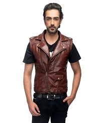 anbow brown sleeveless leather biker jacket