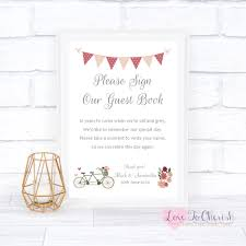 Sign Book For Wedding Vintage Tandem Bike Bicycle Shabby Chic Sign Our Guest Book Wedding Sign