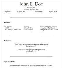 High School Theatre Resume Template Best of Theatrical Resume Template Gfyork With Theatre Resume Template