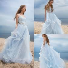 Light Blue Wedding Dress With Sleeves Discount Beautiful Light Sky Blue Wedding Dresses Boho Style