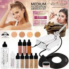 belloccio professional beauty airbrush cosmetic makeup system with 4 um shades of foundation in 1 4 oz bottles