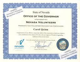 Volunteer Certificates Governors Volunteer Recognition Certificate Nevada Volunteers