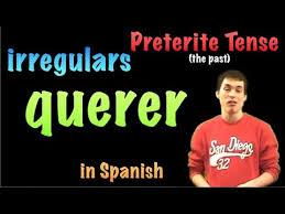 Querer Verb Chart 02 Spanish Lesson Preterite Irregulars Querer