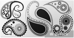 Plakát Umělecké Paisley Henna Tetování Vzory