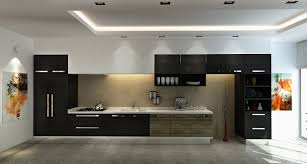 contemporary kitchen furniture detail. Awesome Appealing Open Kitchen With Black Cabinets And White Countertop Under Bright Led Lighting At Contemporary Furniture Detail
