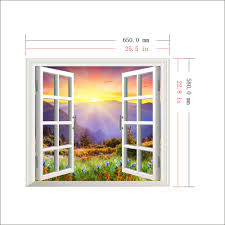 Artificial Window Sunrise 3d Artificial Window Pag Wall Decals Hill View Room