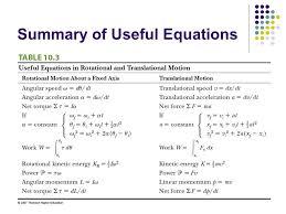 58 summary of useful equations