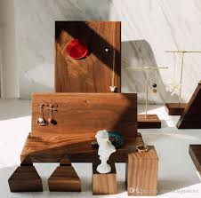 2019 wooden jewelry display stand nature woode stand earrings ring display nail studs exhibition stand jewelry storage shooting props from newdesign