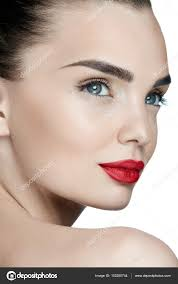 fashion makeup young woman with perfect makeup and red lips stock photo