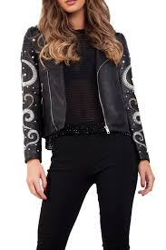 embellished pearl arm faux leather look biker jacket