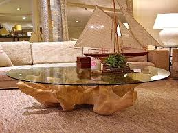 coffee table tree stump with glass top for living room decor