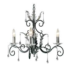 amarilli 3 light chandelier in black silver with glass droplets elstead aml3 b s