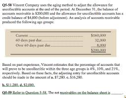 allowance for uncollectible accounts balance sheet solved vincent company uses the aging method to adjust th