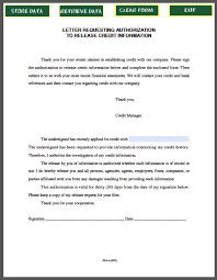 Letter Requesting Authorization To Release Credit