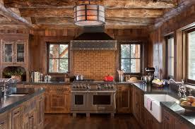 Rustic Cabin Kitchen Spacious Cabin Kitchen Features Urban Subway Tile Backsplash That