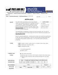 A325 Bolt Chart A325