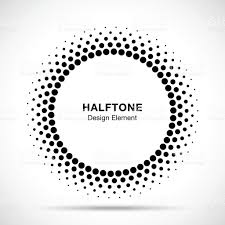 Halftone Vector Circle Frame Dots Symbol Emblem Design Element For
