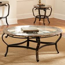 steve silver gallinari oval marble and glass top coffee table