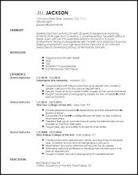 Modern Resume For Instructors Dance Resume Template Barraques Org